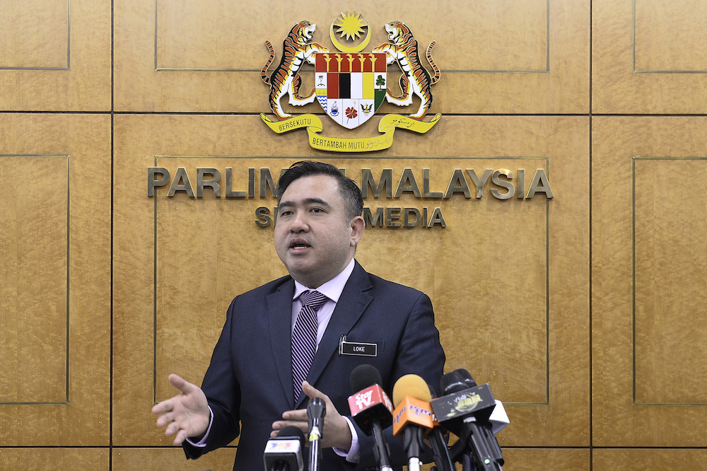 Transport Minister Anthony Loke speaks to reporters in Parliament November 5, 2019. — Picture by Miera Zulyana