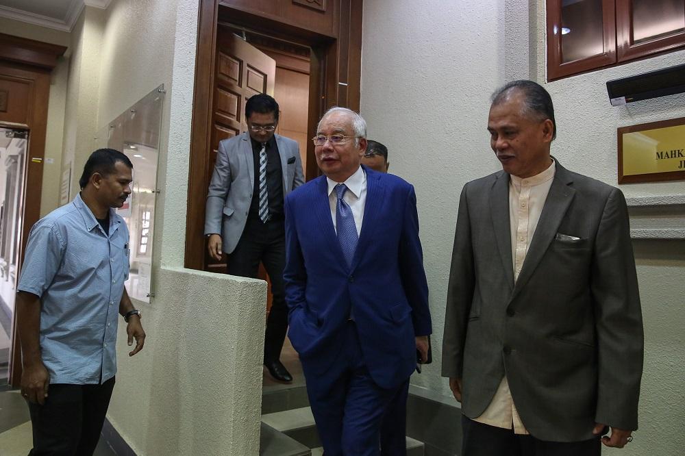 Former prime minister Datuk Seri Najib Razak at the Kuala Lumpur High Court Complex November 13, 2019. — Picture by Yusof Mat Isa