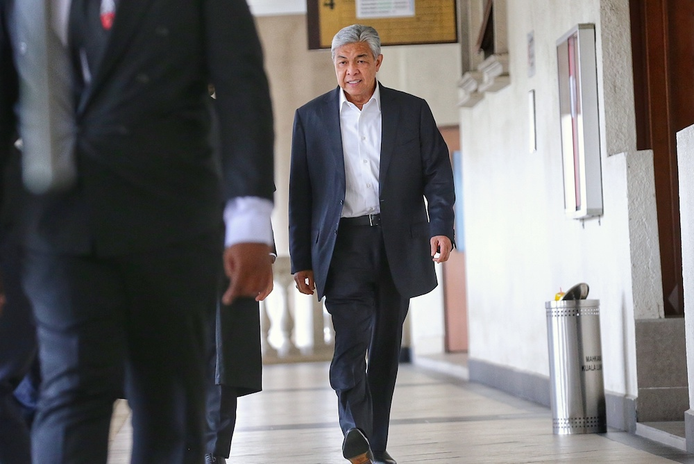Ahmad Zahid is charged with 40 counts of receiving bribes involving the foreign visa system. — Picture by Ahmad Zamzahuri
