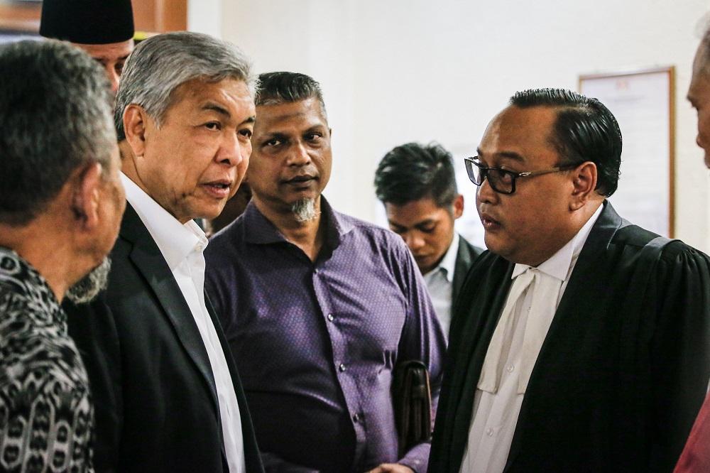 Former deputy prime minister Datuk Seri Ahmad Zahid Hamidi  (second left) at the Kuala Lumpur High Court November 18, 2019. — Picture by Hari Anggara