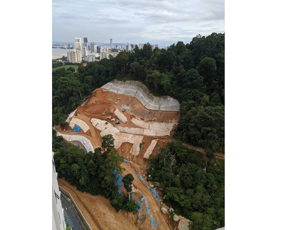 MBPP stressed that a geotechnical engineer was appointed to monitor the hill cutting and slope stabilisation works throughout the duration of the project. — Picture courtesy of Sahabat Alam Malaysia