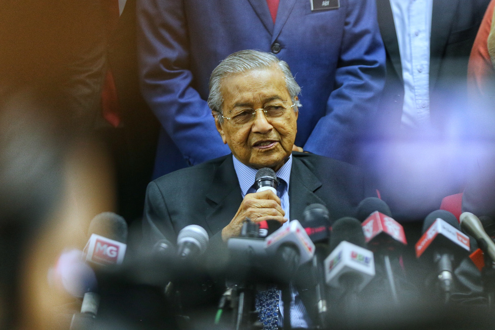 PPBM chairman Tun Dr Mahathir Mohamad speaks during the Bersatu press conference at Yayasan Selangor in Petaling Jaya November 20, 2019. — Picture by Ahmad Zamzahuri