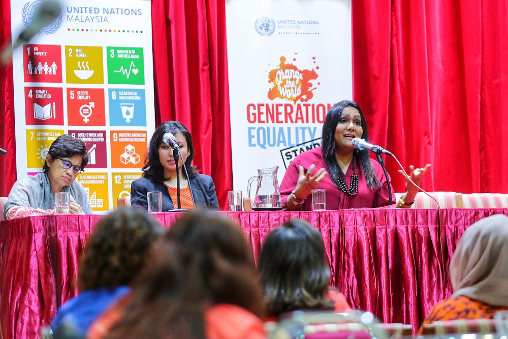 Nisya Ayub (left) from SEED Foundation at the International Day for the Elimination of Violence Against Women forum at Women's Institute Management, November 25, 2019. — Picture by Ahmad Zamzahuri