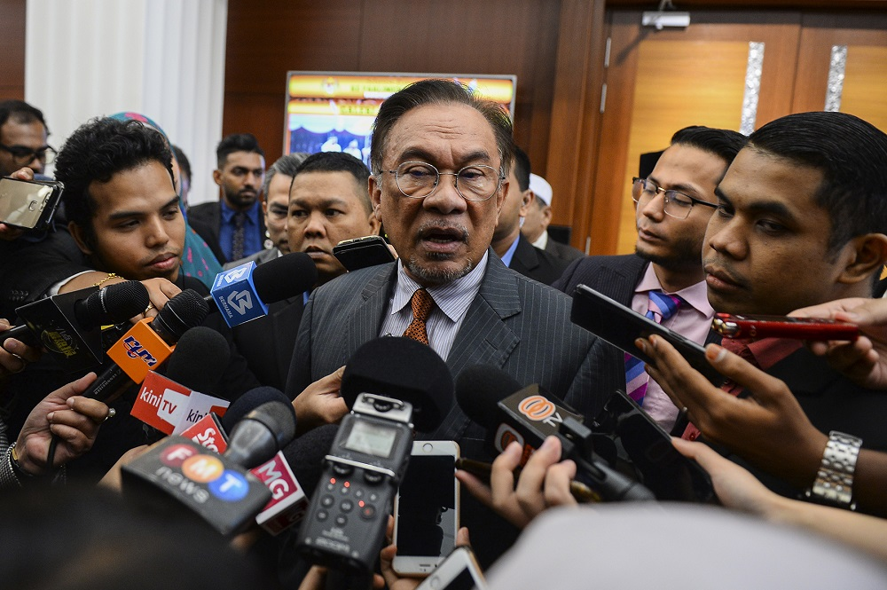 PKR president Datuk Seri Anwar Ibrahim speaks to reporters at the Parliament lobby in Kuala Lumpur November 26, 2019. — Picture by Miera Zulyana