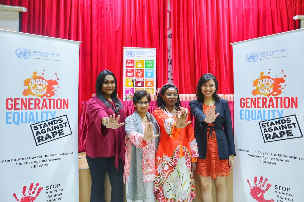 Nisya Ayub, Professor Datuk Rashila Ramli, Professor Pascale Allotey and Liya Red at the International Day for the Elimination of Violence Against Women forum at Women's Institute Management, November 25, 2019. — Picture by Ahmad Zamzahuri