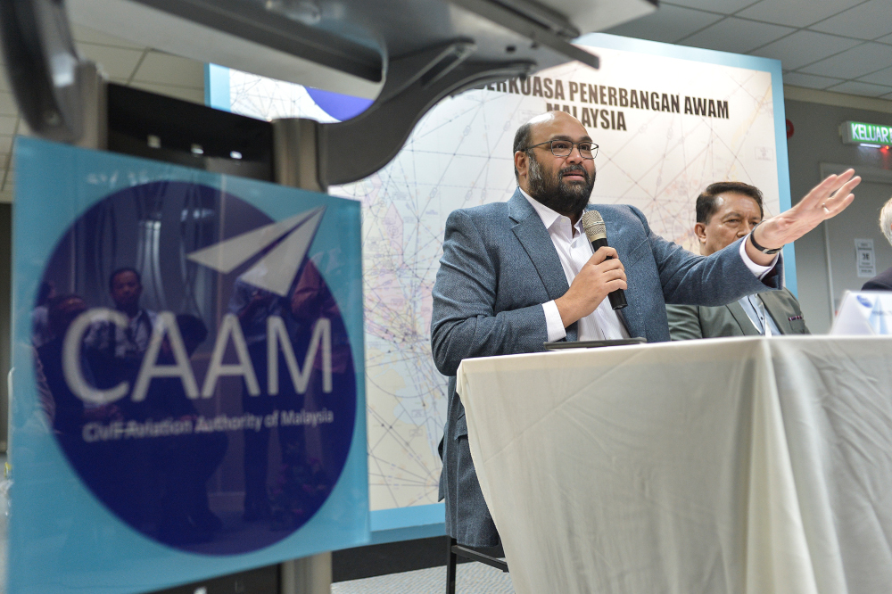 Civil aviation authority of Malaysia (CAAM) board of director member Afzal Abdul Rahim speaks during the CAAM press conference in Putrajaya, November 12, 2019. —Picture by Shafwan Zaidon