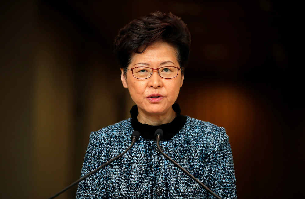 Hong Kong's Chief Executive Carrie Lam speaks to the media in Hong Kong October 29, 2019. — Reuters pic