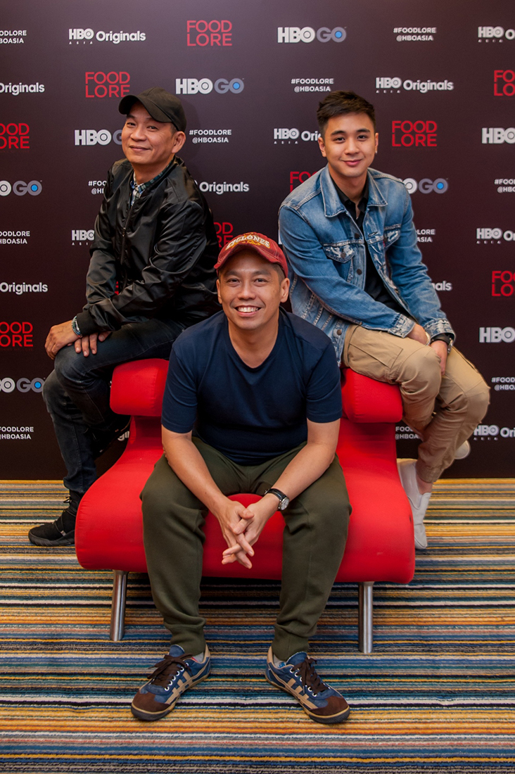 Film-maker Ho Yuhang (centre) with actors Wilson Tin (left) and Fabian Loo. –