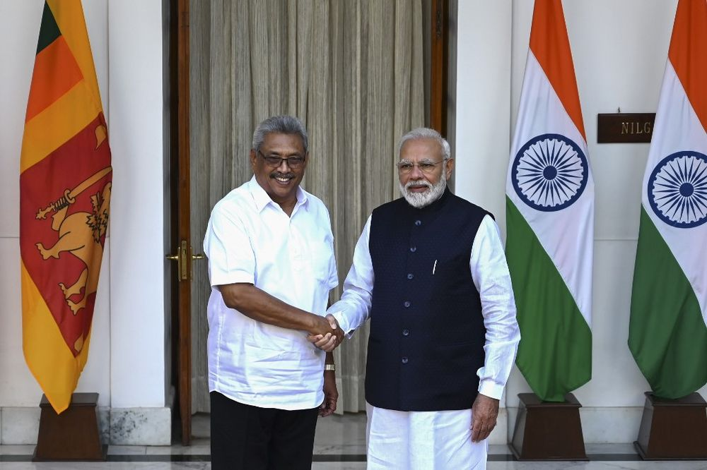 Sri Lanka's President Gotabaya Rajapaksa (left) shakes hands with India's Prime Minister Narendra Modi before a meeting at the Hyderabad House in New Delhi on November 29, 2019. — AFP pic
