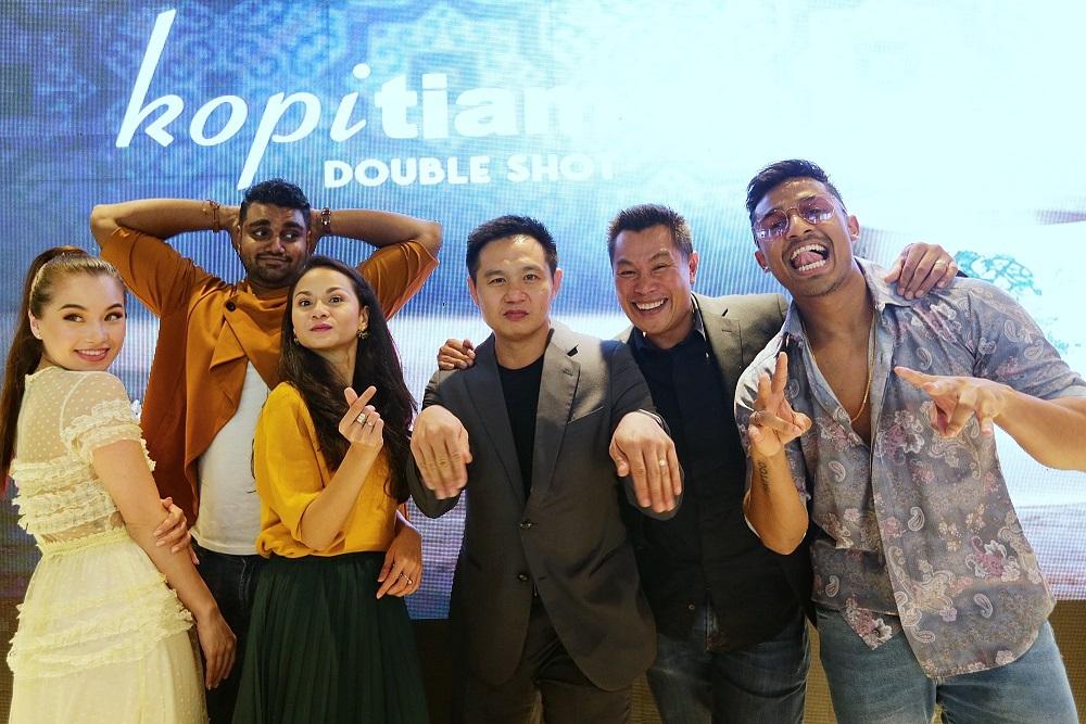 'Kopitiam: Double Shot' stars (from left) Melissa Campbell, Charles Roberts, Sharifah Amani, Douglas Lim, Rashid Salleh and Harvinth Skin. — Picture by Ahmad Zamzahuri