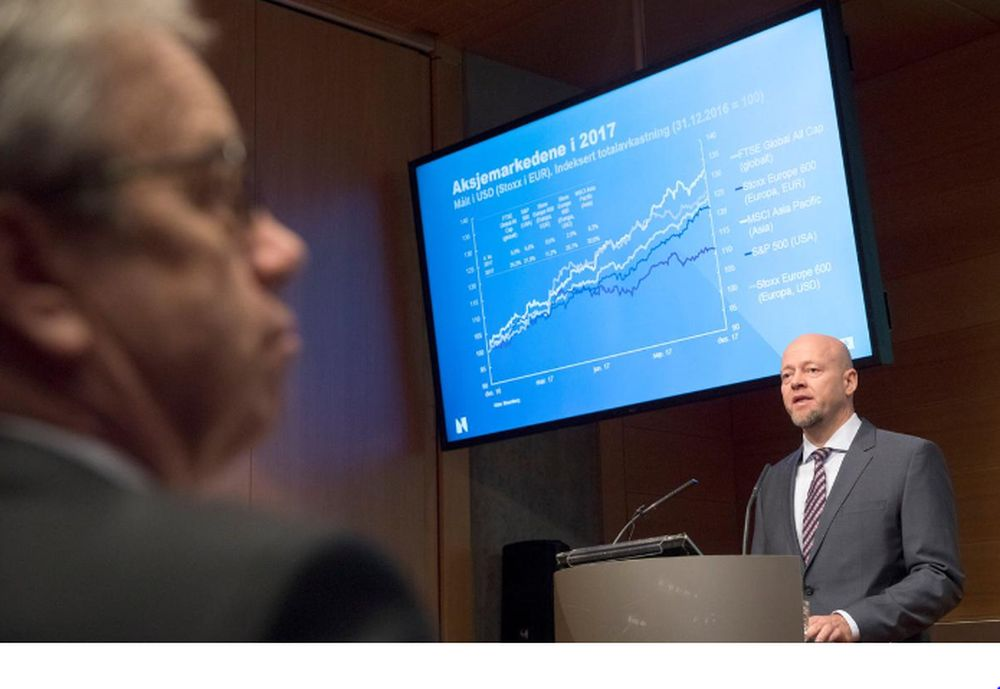 Yngve Slyngstad, CEO of Norges Bank Investment Management, speaks during a presentation of the Government Pension Fund in Oslo, Norway February 27, 2018. — NTB Scanpix/Ole Berg-Rusten pic via Reuters