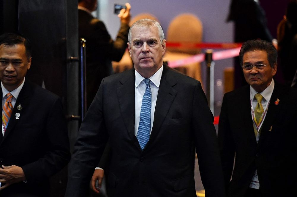 Britain's Prince Andrew, Duke of York arrives for an investment summit in Bangkok November 3, 2019. — AFP pic