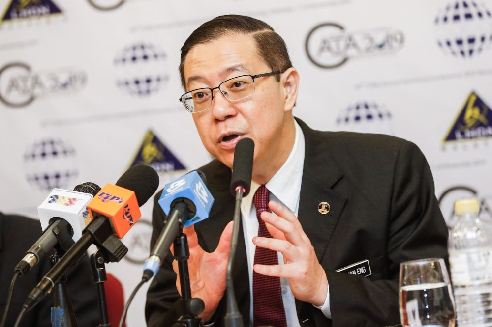 Finance Minister Lim Guan Eng addresses reporters during a press conference after attending the 40th CATA Annual Technical Conference 2019 at the St Giles Wembley Hotel, George Town November 11, 2019. — Picture by Sayuti Zainudin