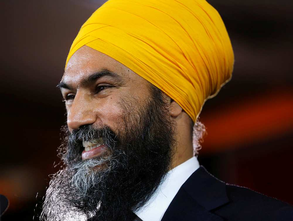 New Democratic Party leader Jagmeet Singh smiles as he speaks to supporters after being re-elected in Burnaby South, British Columbia, Canada October 21, 2019. — Reuters pic