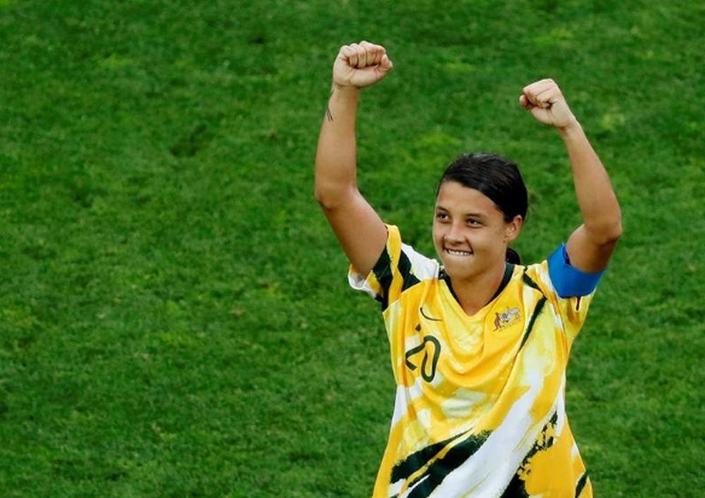 Australia's Sam Kerr celebrates after their Women's World Cup Group C match vs Brazil in Stade de La Mosson, Montpellier, France, June 13, 2019. — Reuters pic