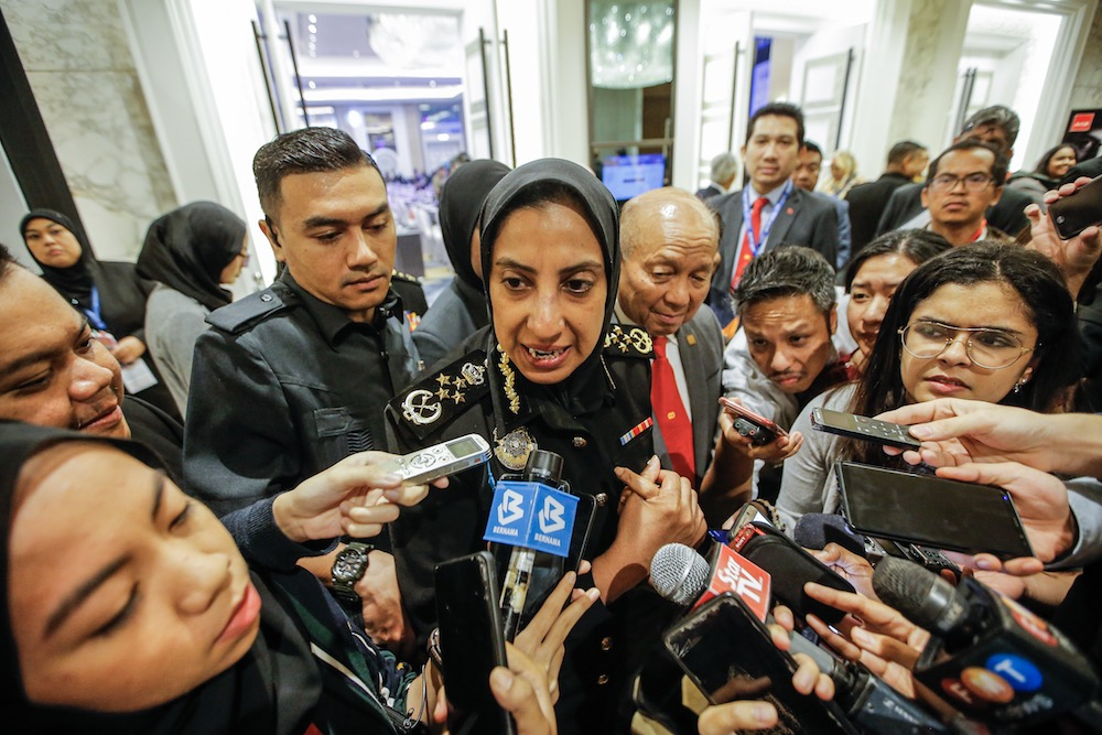 Malaysian Anti-Corruption Commission (MACC) Chief Commissioner Latheefa Koya speaks to reporters after attending the 11th International Conference on Financial Crime and Terrorism Financing 2019 in Kuala Lumpur November 5, 2019. — Picture by Hari Anggara