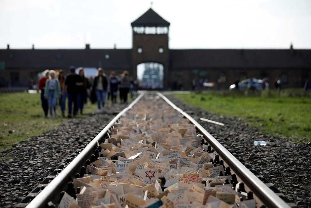 Participants attend the annual 'March of the Living' to commemorate the Holocaust at the former Nazi concentration camp Auschwitz, in Brzezinka near Oswiecim, Poland, May 2, 2019. — Kacper Pempel/Reuters pic