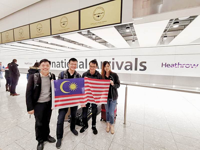 Malaysian students Ivan Ling, Chin Joo Tan, Chong Cheen Ong and Bao Lee Phoon at Heathrow Airport in London. — Picture courtesy of the team