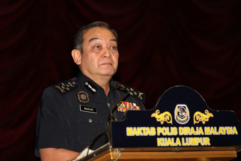 Deputy Inspector-General of Police Datuk Mazlan Mansor speaks at the closing ceremony of a three-day seminar in Kuala Lumpur, November 1, 2019. ― Picture by Choo Choy May