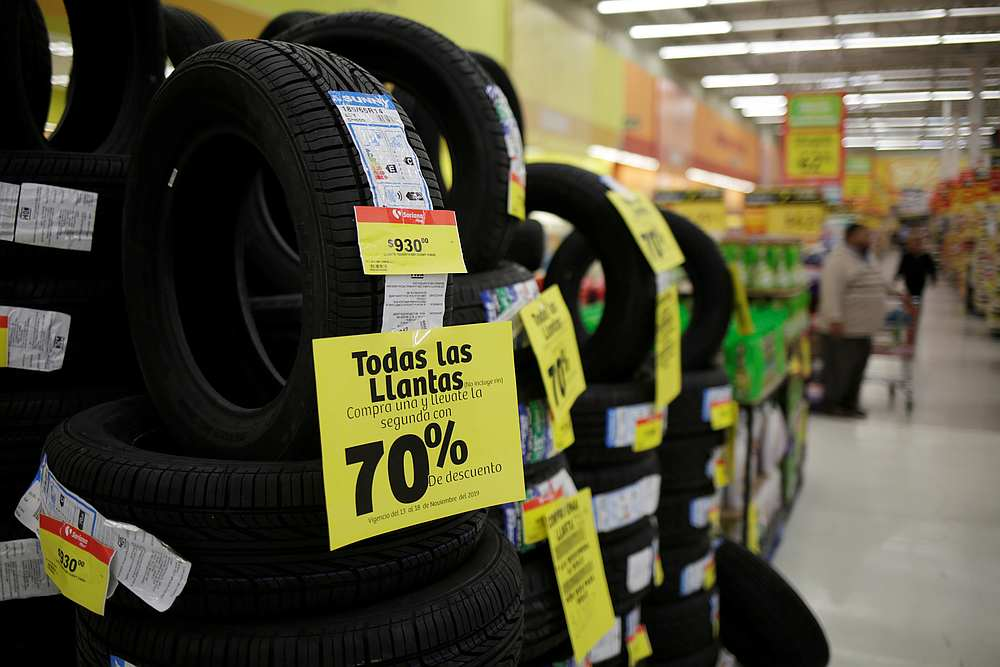 Tires are displayed at a supermarket in Ciudad Juarez, Mexico November 15, 2019. The country's growth forecast for 2019 has been cut to a range of -0.2 to 0.2 per cent by the central bank. — Reuters pic