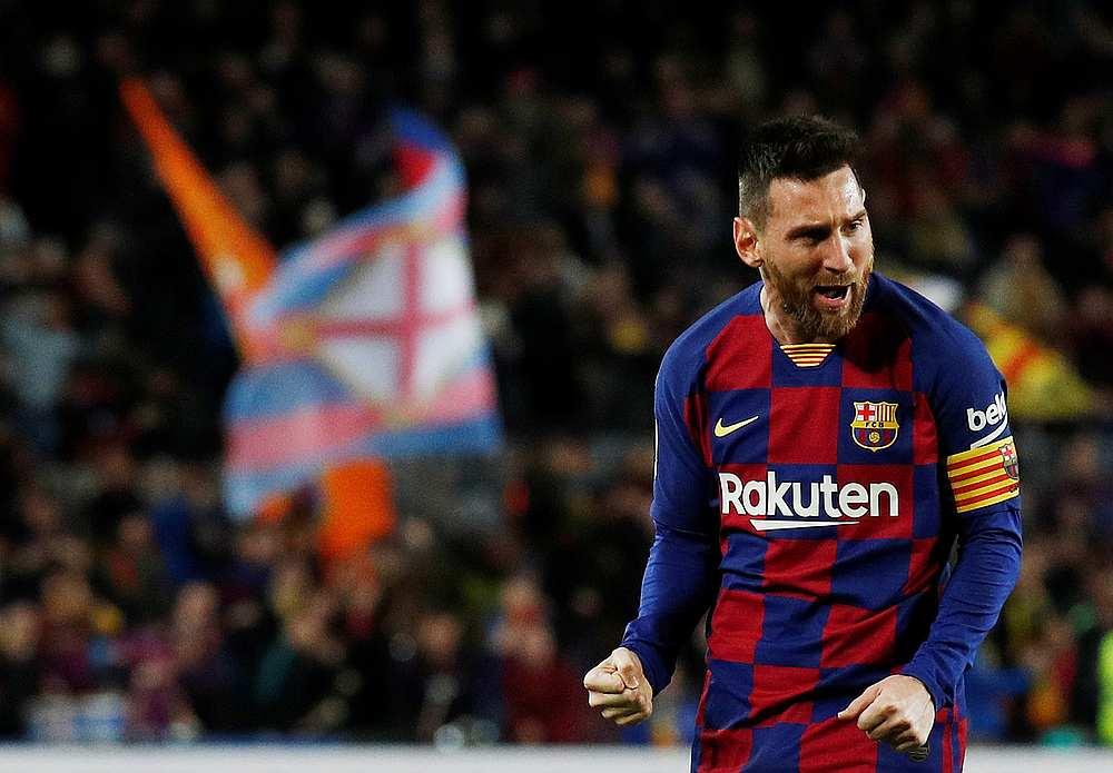 Barcelona's Lionel Messi celebrates scoring their second goal in the La Liga match with Celta Vigo at Camp Nou, Barcelona November 9, 2019. — Reuters pic