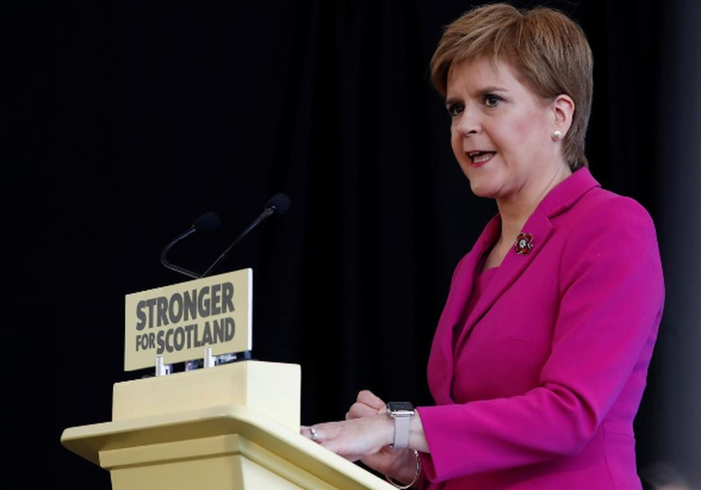 Scotland's First Minister Nicola Sturgeon speaks during the SNP general election campaign launch in Edinburgh, Scotland, Britain November 8, 2019. — Reuters pic