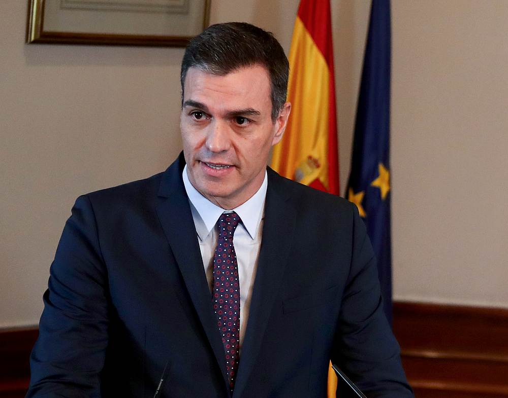 Spanish acting Prime Minister Pedro Sanchez speaks during a news conference at Spain's Parliament in Madrid November 12, 2019. — Reuters pic