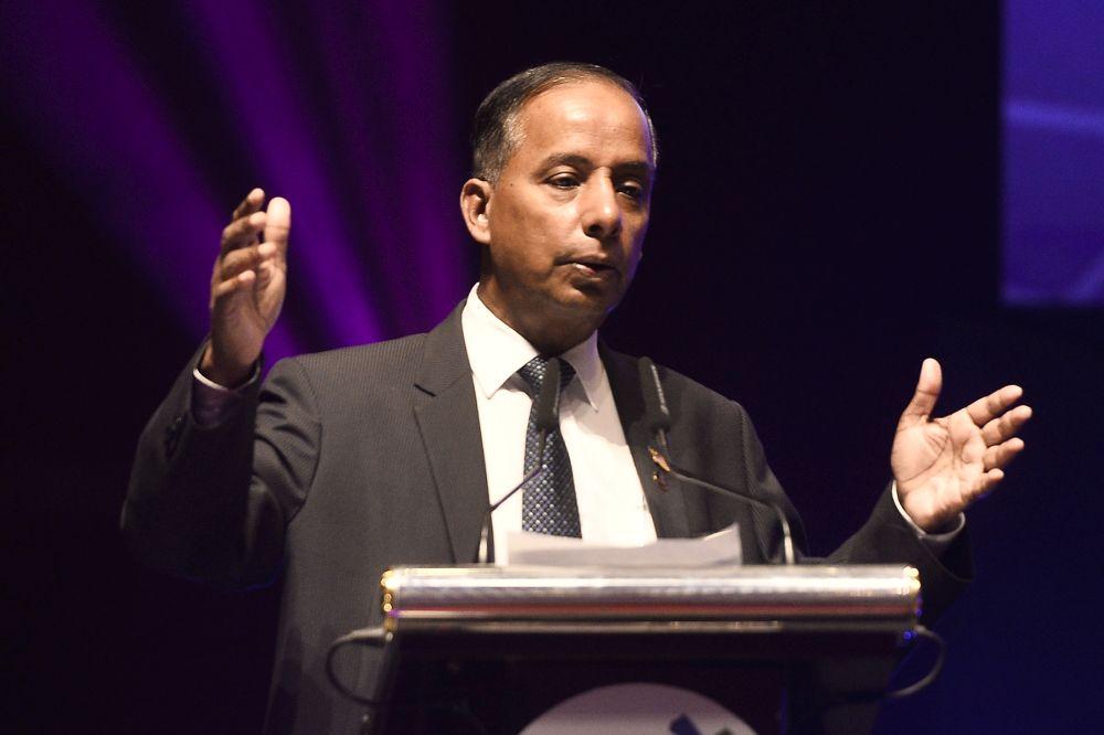 Human Resources Minister M. Kulasegaran gives a speech at the Putrajaya International Convention Centre November 19, 2019. — Picture by Miera Zulyana