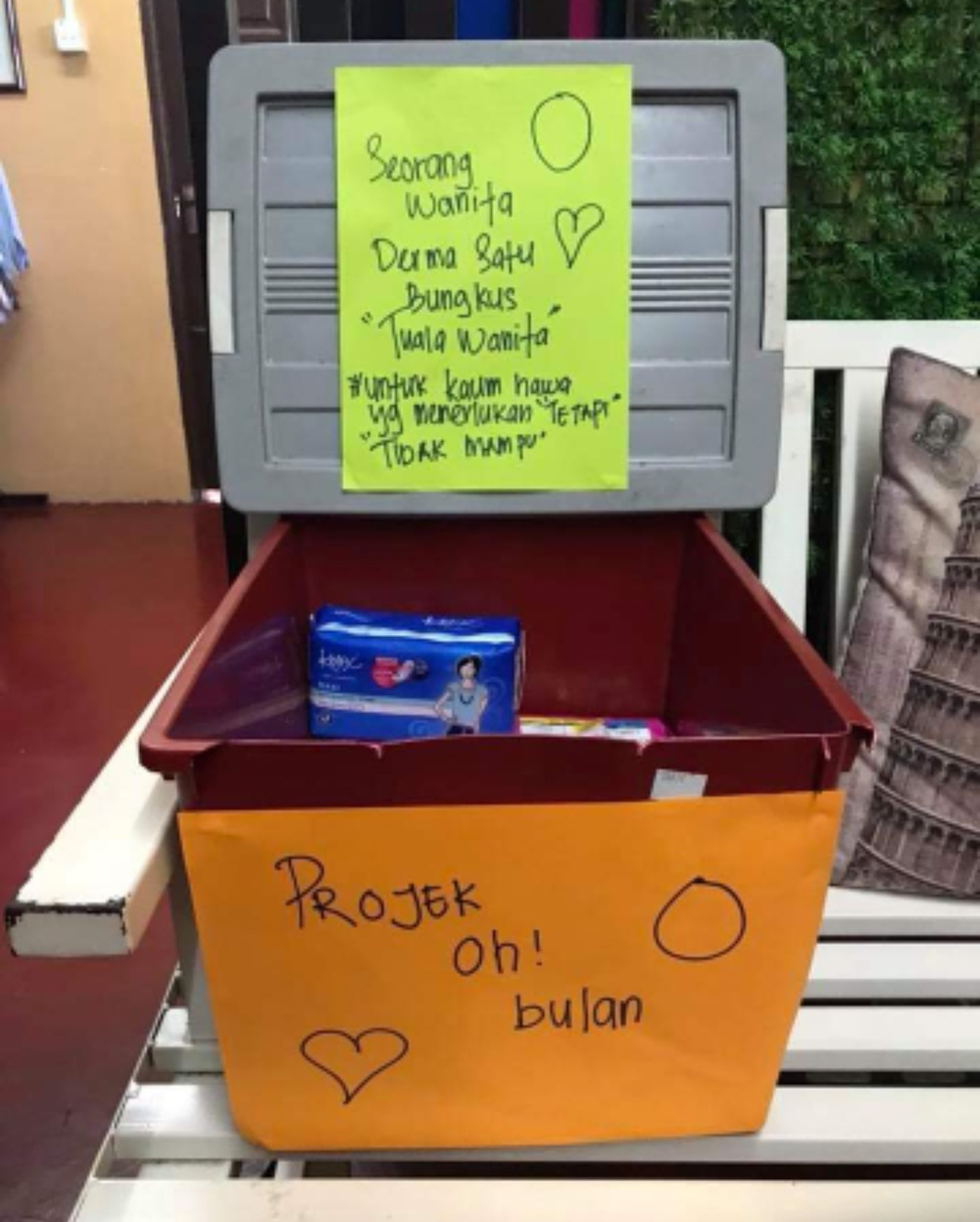 One of the boxes that Zuraidah has placed in a fitness centre, to collect sanitary pad donations from women. — Picture courtesy of Zuraidah Daut