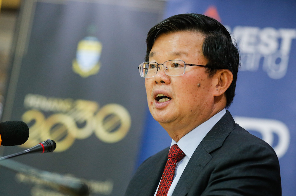 Penang Chief Minister Chow Kon Yeow speaks to the press during the Strategic Investment announcement in George Town November 19, 2019.