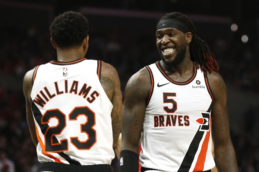 Lou Williams and Montrezl Harrell of the Los Angeles Clippers talk during the second half against the Portland Trail Blazers at Staples Centre in Los Angeles on December 3, 2019. — AFP pic