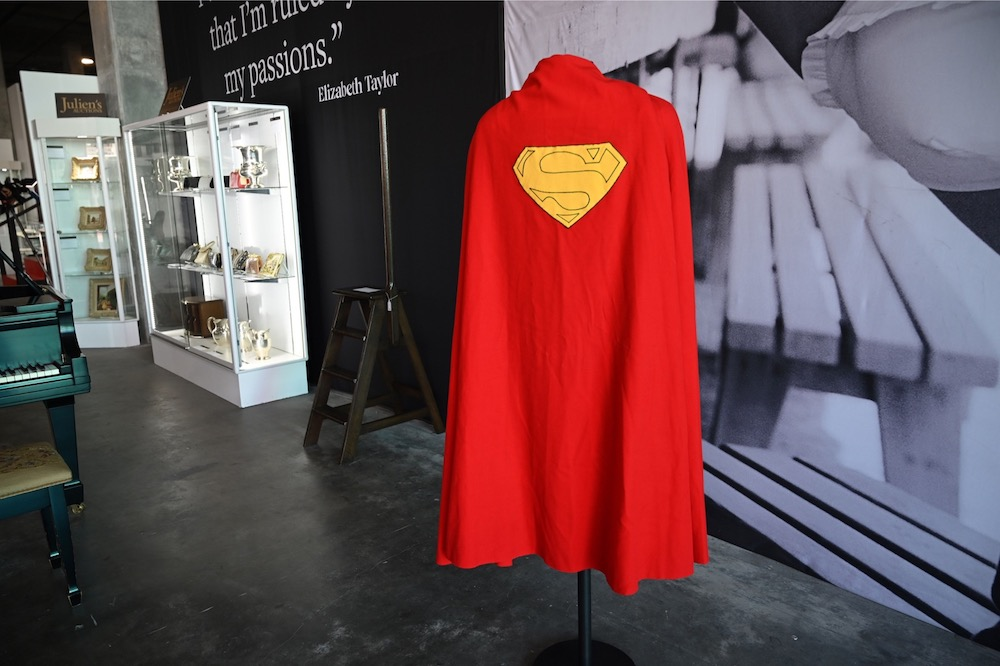 An original Superman cape worn by actor Christopher Reeve in the 1978 'Superman' film is displayed at Julien's Auctions house on December 13, 2019. — AFP pic