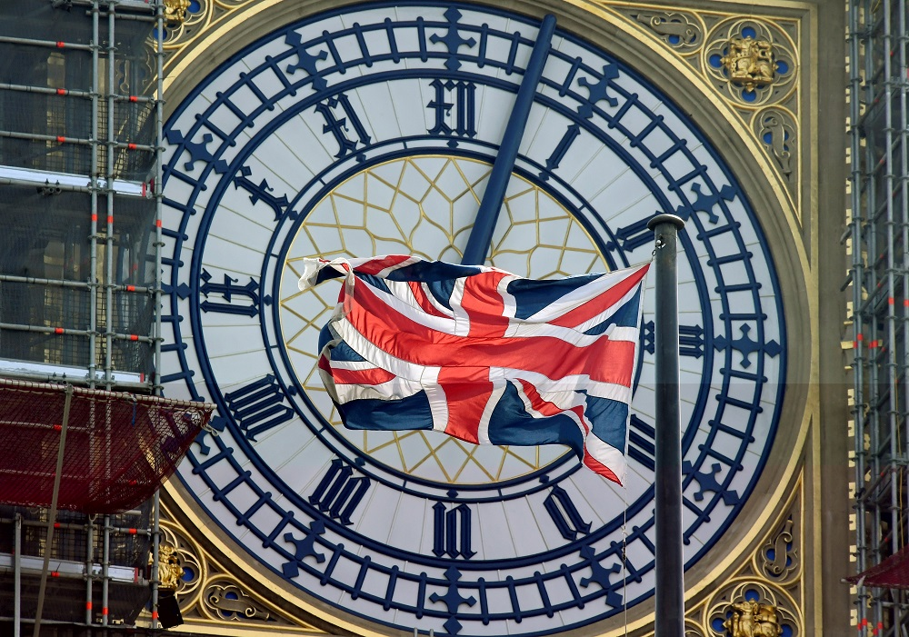 British Union Jack flag files in front of the clock face of Big Ben in London August 29, 2019. — Reuters pic