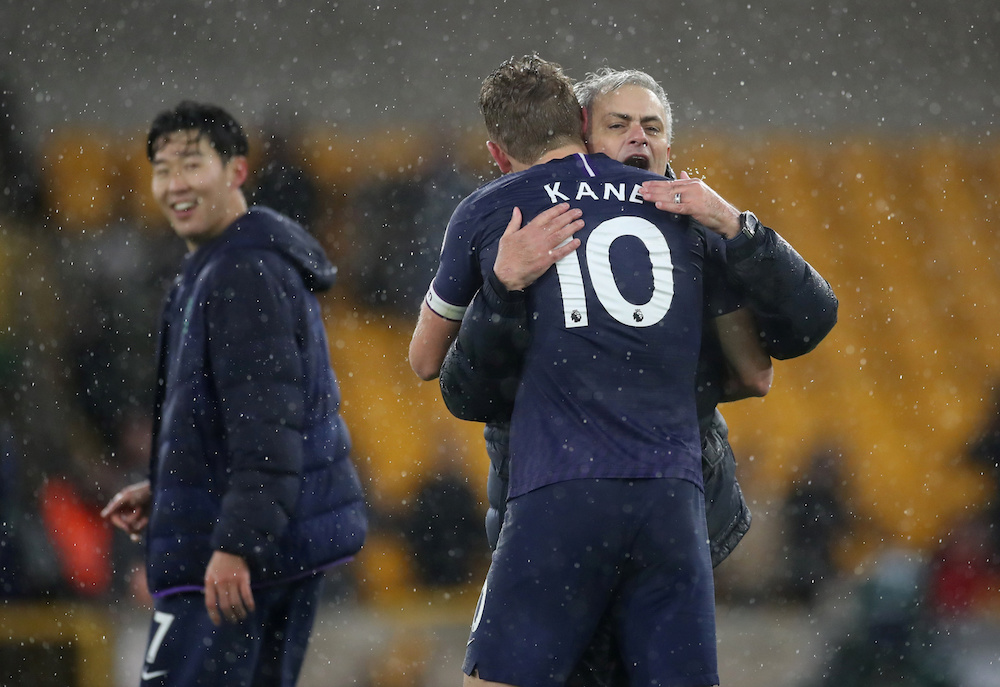 Tottenham Hotspur manager Jose Mourinho and Harry Kane celebrate after the Premier League match with Wolverhampton Wanderers at Molineux Stadium in Wolverhampton December 15, 2019. — Action Images pic via Reuters