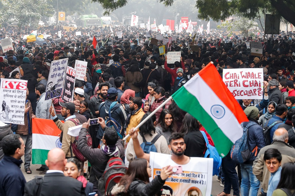 Demonstrators protest against a new citizenship law in Delhi December 19, 2019. — Reuters pic