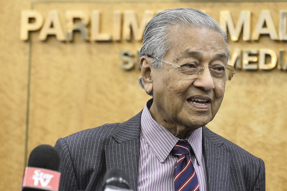 Acting Education Minister Tun Dr Mahathir Mohamad said today he will not make any decisions concerning the Education Ministry before looking deep into the problems plaguing the ministry. — Picture by Miera Zulyana