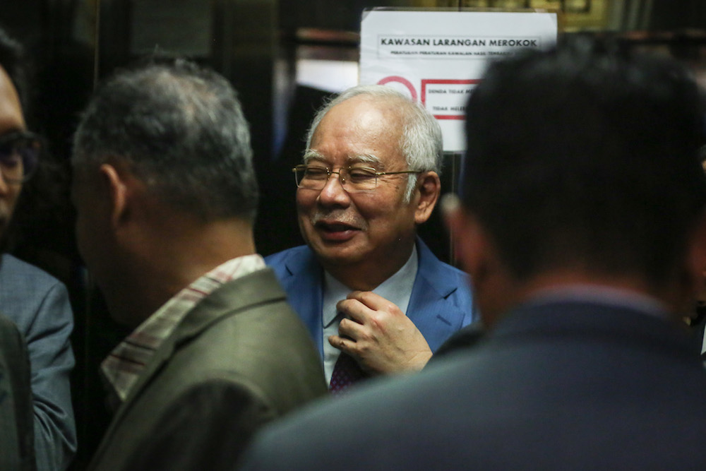 Former prime minister Datuk Seri Najib Razak is seen at the Kuala Lumpur Courts Complex December 3, 2019. — Picture by Yusof Mat Isa