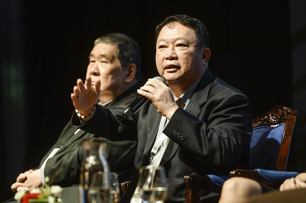 Malay Mail editor-in-chief Datuk Wong Sai Wan speaks at the inaugural WOWComm 2019 sustainability conference at the Putrajaya Marriott Hotel December 5, 2019. — Picture by Miera Zulyana