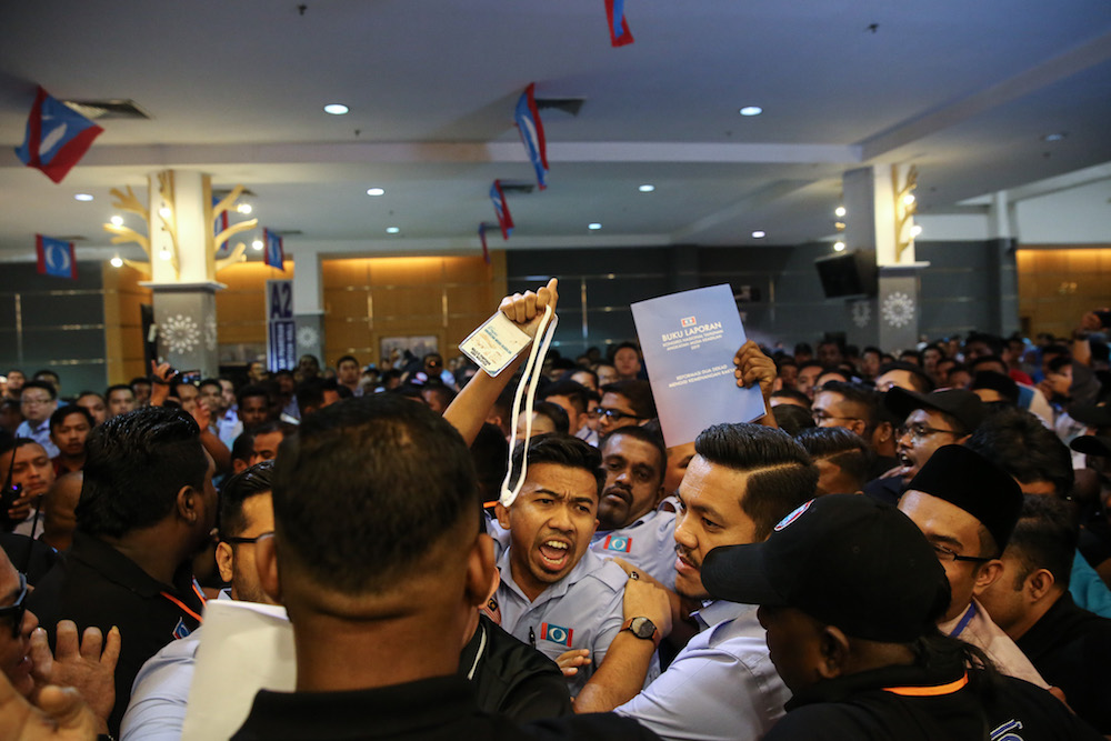 Chaos erupted at the opening ceremony of the PKR Youth National Congress opening at the Classic Ballroom at MITC in Melaka December 6, 2019. — Picture by Yusof Mat Isa