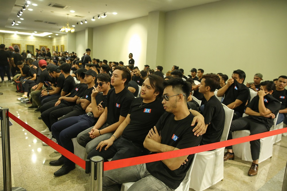 A group of youths dressed in all-black is seen at the PKR Youth National Congress in Melaka December 6, 2019. — Picture by Yusof Mat Isa