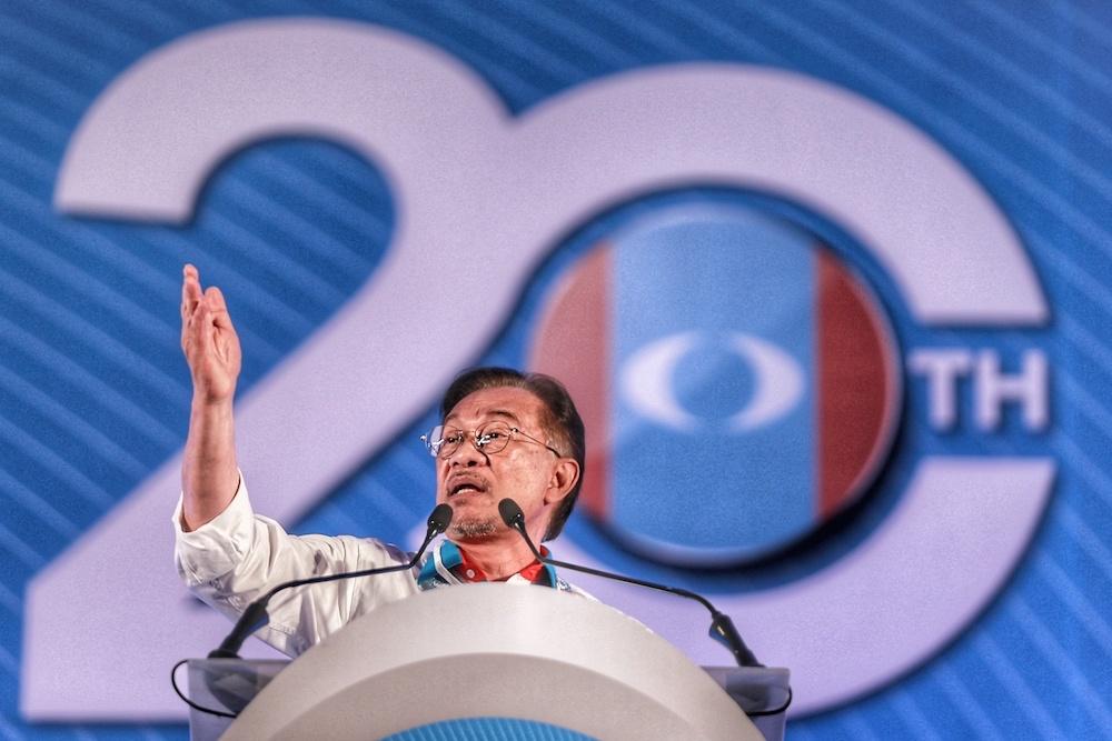 PKR president Datuk Seri Anwar Ibrahim addresses the 2019 PKR National Congress at MITC in Ayeh Keroh, Melaka December 8, 2019. — Picture by Ahmad Zamzahuri