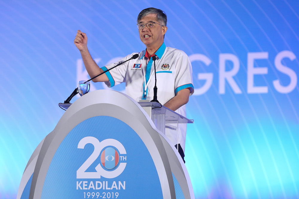 PKR vice-president Chua Tian Chang speaks during the 2019 PKR National Congress at MITC in Ayer Keroh, Melaka December 8, 2019. — Picture by Yusof Mat Isa