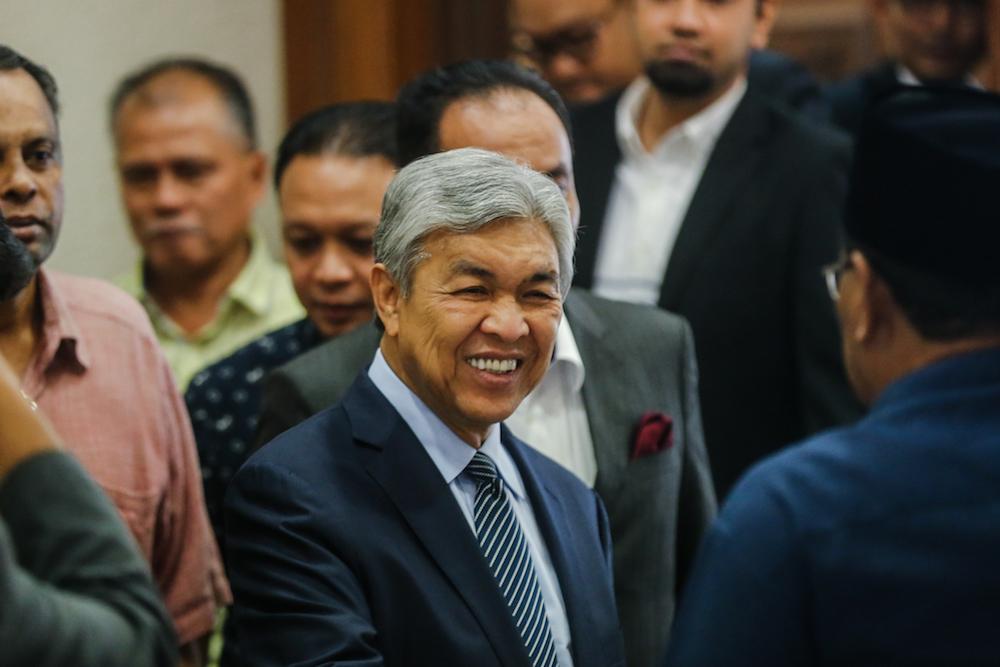 Datuk Seri Ahmad Zahid Hamidi is seen at the Kuala Lumpur High Court December 11, 2019. — Picture by Firdaus Latif