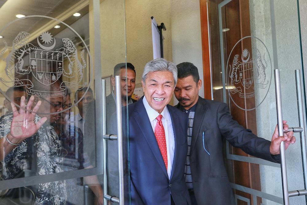 Datuk Seri Ahmad Zahid Hamidi is pictured at Kuala Lumpur High Court December 12, 2019. — Picture by Ahmad Zamzahuri