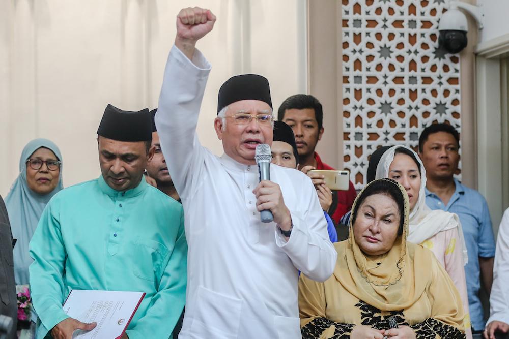 Former prime minister Datuk Seri Najib Razak speaks at Masjid Jamek in Kampung Baru, Kuala Lumpur December 20, 2019. — Picture by Firdaus Latif