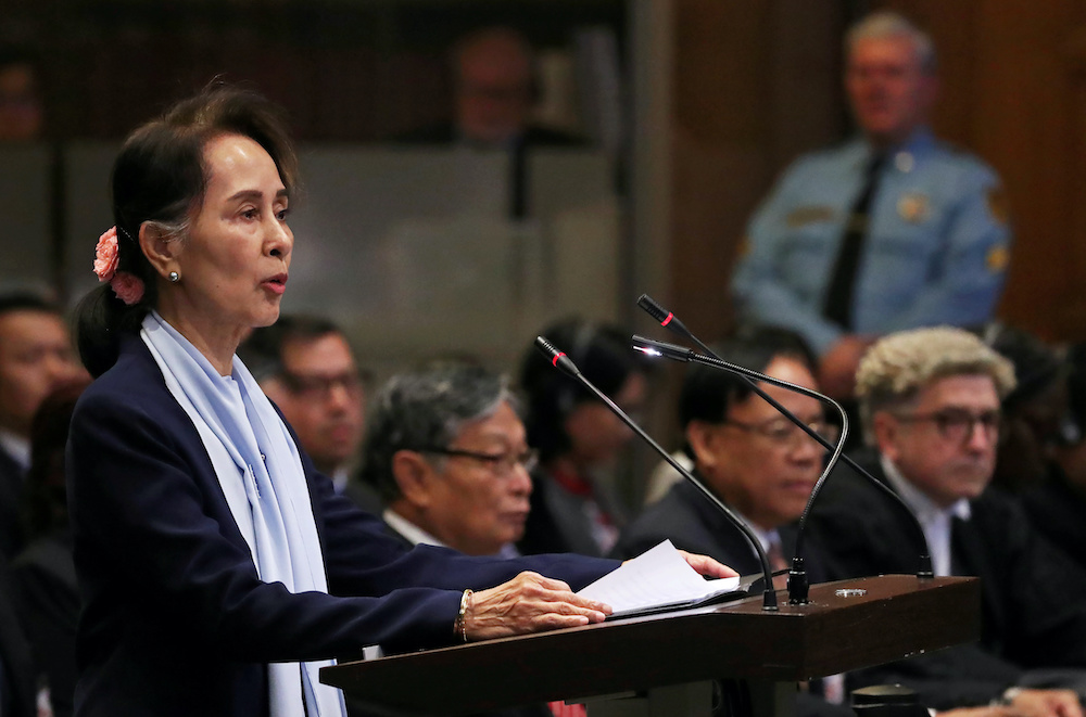 Myanmar's leader Aung San Suu Kyi speaks on the second day of hearings in a case filed by Gambia against Myanmar alleging genocide against the minority Muslim Rohingya population, at the International Court of Justice in The Hague, Netherlands December