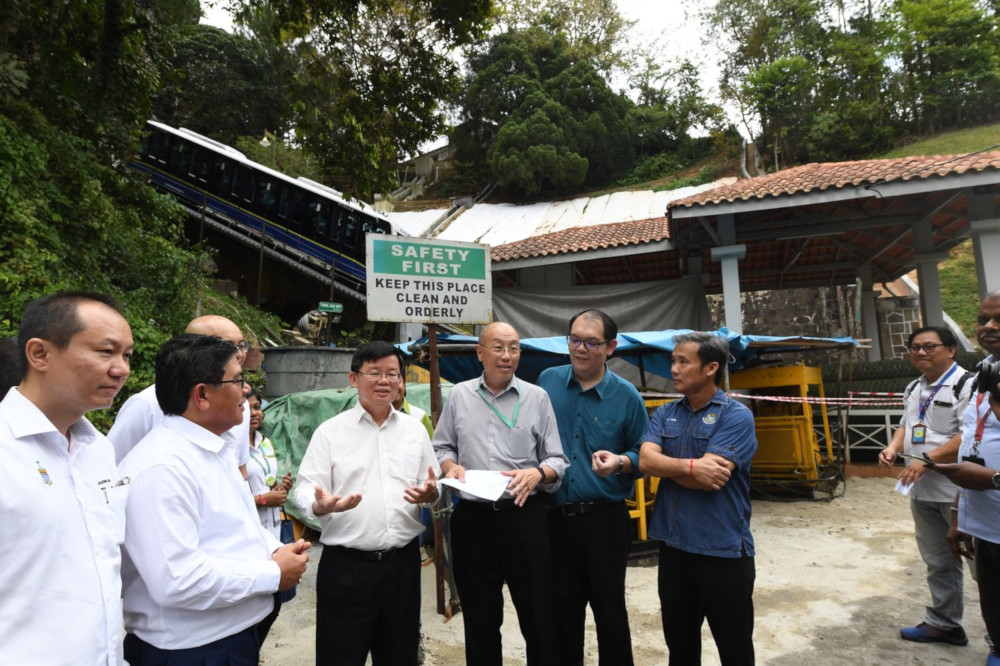 Penang Chief Minister Chow Kon Yeow during the project site visit at Penang Hill December 9, 2019. — Bernama pic
