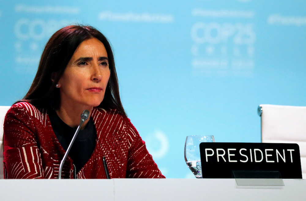 Carolina Schmidt, Chile's Minister of Environment and President of the 2019 UN Climate Change Conference (COP25) attends a meeting with delegates during COP25 in Madrid, Spain, December 14, 2019. — Reuters pic