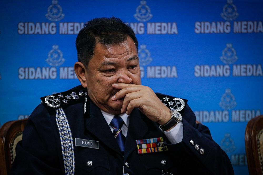 IGP Tan Sri Abdul Hamid Bador at the police headquarters in Bukit Aman Kuala Lumpur December 23, 2019. ― Picture by Hari Anggara