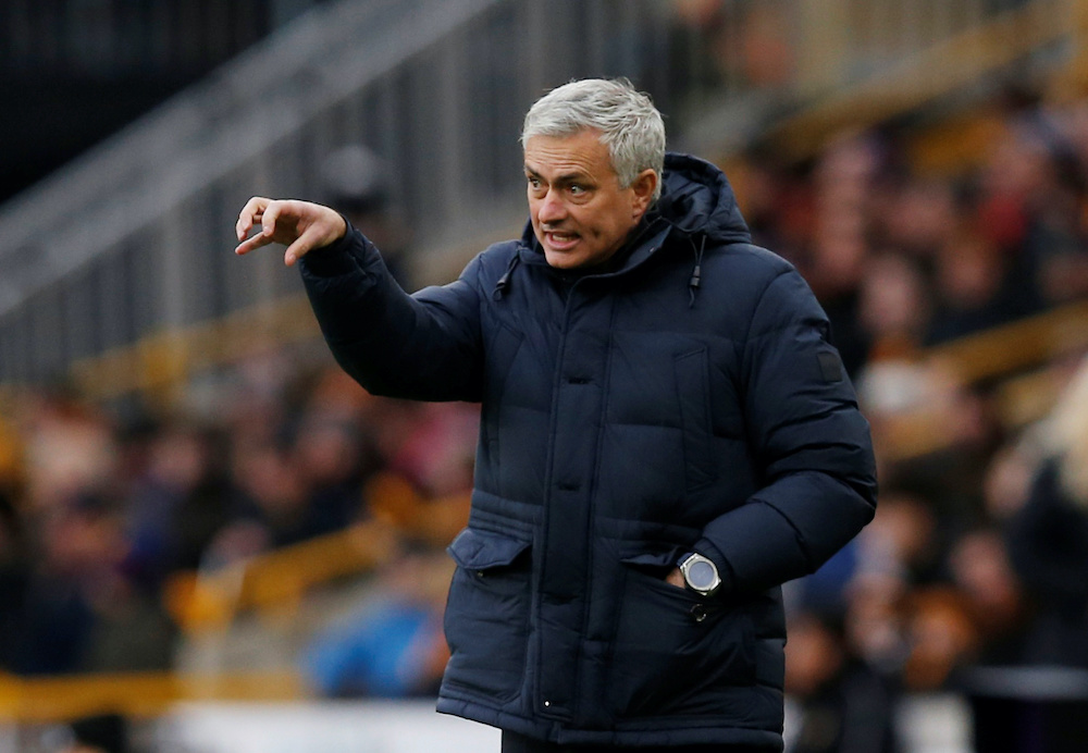 Tottenham Hotspur manager Jose Mourinho at the match against Wolverhampton Wanderers at the Molineux Stadium in Wolverhampton, December 21, 2019. ― Reuters pic